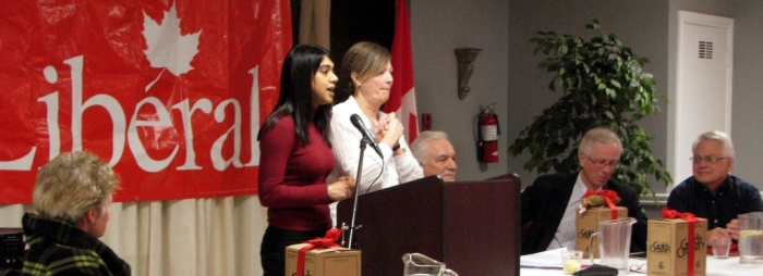 Liberals: newly minted Kitchener Centre MP Candidate Bardish Chagger moderates an LPC panel on Electoral Reform.