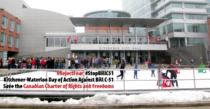 StopBillC51 at Kitchener City Hall