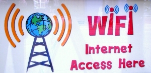 """""""WIFI Internet Access Here"""" sign at The Working Centre"""