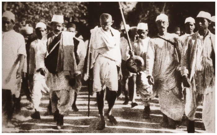 Mahatma Gandhi on the salt March, 1930