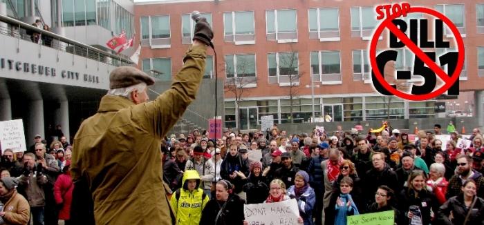 Kitchener City Hall Stop Bill C-51 Rally