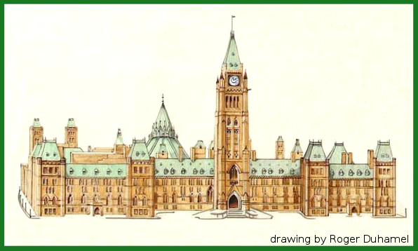 The Parliament Buildings drawn by Roger Duhamel, from the Canadian Bill of Rights (public domain)