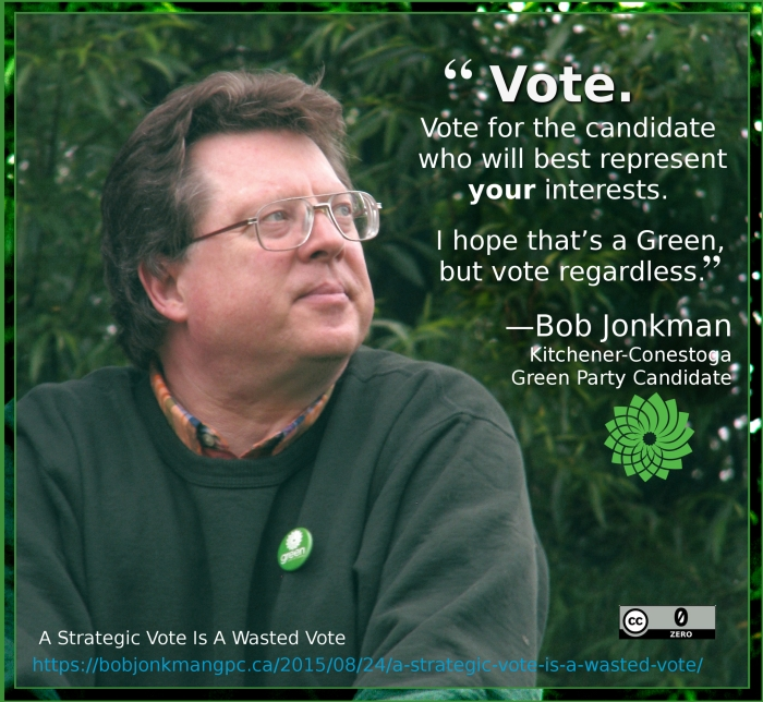 Vote. Vote for the candidate who will best represent your interests. I hope that's a Green, but vote regardless.