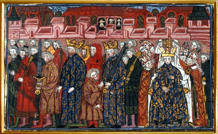 British Library illuminated medieval manuscript image of King Phillip Coronation