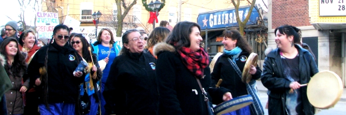 Louisette Lanteigne participates in the Novemeber Climate March in Waterloo