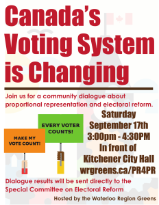 @WR_Greens hosts a Community Dialogue on Electoral Reform