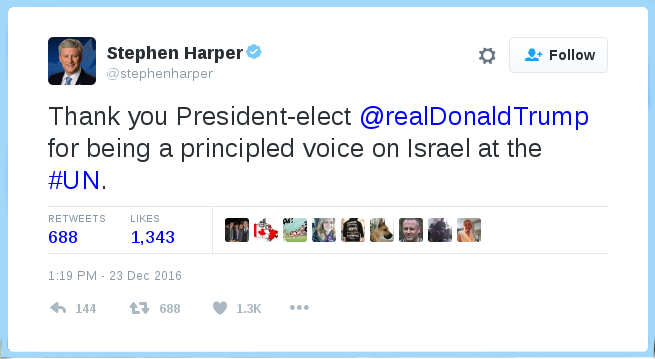@StephenHarper tweets Thank you President-elect @realDonaldTrump for being a principled voice on Israel at the #UN