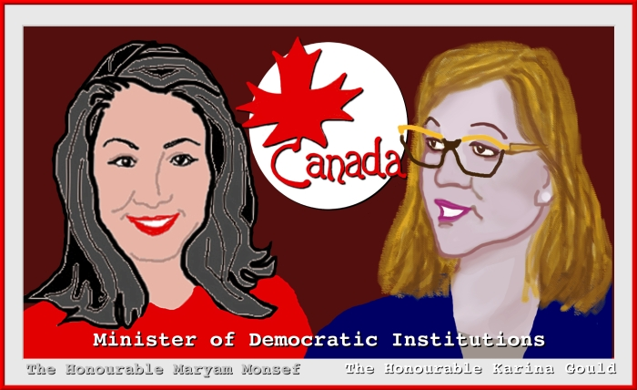 Old and new Ministers of Democratic Institutions, Maryam Monsef and Karina Gould