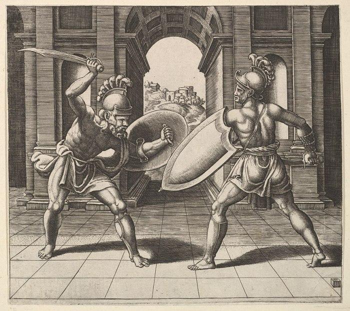 drawing of gladiators fighting
