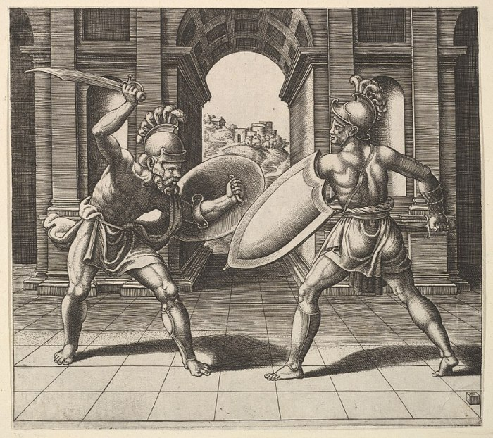 drawing of gladiators fighting