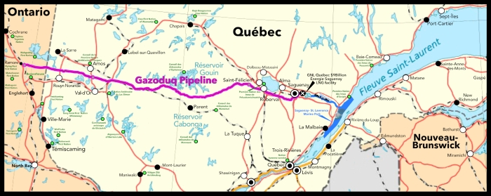 Map showing the pipeline route